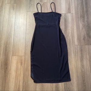 NAVY MIDI DRESS WITH DOUBLE LEG SLITS